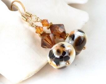 Artisan Lampwork Earrings on 14kt Gold Fill, Gold Lampwork earrings, Rich Brown Earrings, Art Glass Earrings, Glass Beaded Dangles, Ricki