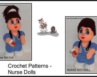 Nurse Dolls Crochet Patterns, crochet nurses, nurse doll, crochet dolls