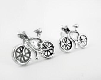 SALE, Bicycle Earrings, Ready to Ship, Sterling Bike earrings, cyclist gift, Dutch Holland bike studs, bicycle jewelry, city bike jewelry 72