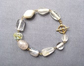 Oceania bracelet - gold plated metal toggle clasp, glass beads white grey cream clear pearl yellow - ocean sea iceberg - OOAK one of a kind