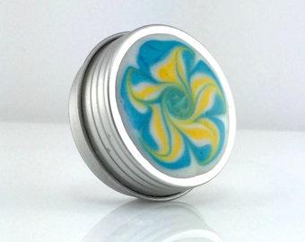 Small Flower Treasure Box - Blue and Yellow Flower - Jewelry Box - Trinket Box - Pill Box - Handmade - #262