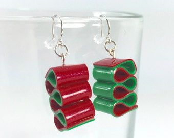 Ribbon Candy Earrings - Christmas Earrings - Red & Green Holiday Earrings - Handmade, Polymer Clay - Ready to Ship - RC185