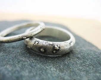 Wedding Band Set Rustic Stacking Rings Half Round Textured  Nautical Jewelry Ancient Treasure Fine Artisan Custom Handmade