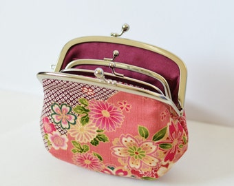 Mother and Daughter Frame Purse Japanese Kimono Floral Plum Pink