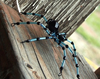 Use COUPON CODE THKS25 for 25 percent off TODAY Beaded Spider - Hair Bobby Pin, Lapel Pin or  Halloween Decoration, Light Blue and Black