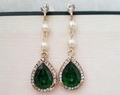 Emerald Earrings, Emerald Drop Earrings, Bridal Earrings Green, Wedding Emerald Earrings, Wedding Jewelry, Long Drop Earrings, SIERA