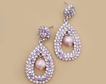 Bridal Vintage Earrings, Wedding earrings freshwater pearl rhinestone, Crystal bridal jewelry, Art deco Gatsby Wedding Jewelry, JACKIE