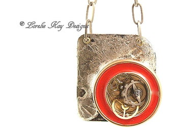 Steampunk Copper Resin Necklace Flood Soldered Watch Parts One-of-a-Kind Handmade Copper Pendant