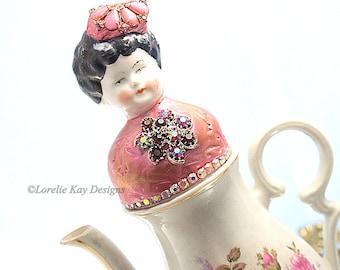 Lucy Pink Roses Functional Teapot Art Doll  Mixed Media Assemblage Pink Roses Funcitonal Art Tea Pot OOAK Art Doll