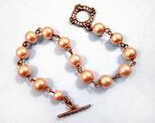 Glass Pearl and Rhinestone Bracelet, Champagne Pearls, Brass Beaded Bracelet, FREE Shipping U.S.