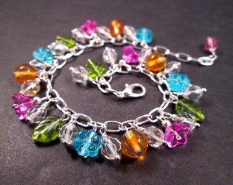 Flower Charm Bracelet, Pink Blue Green and Orange, Colorful and Silver Bracelet, FREE Shipping U.S.