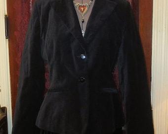 50% Off SALE Vintage Black Velvet Jacket Blazer S/M Steampunk Gothic