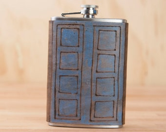 Flask - Handmade Leather Hip Flask in the Tardis Pattern - River Song's Notebook - 8oz in Blue and Antique Black