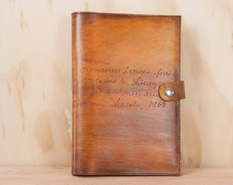 Leather Journal -  Personalized Smokey pattern in antique tan