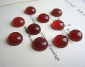Carnelian Cabochons circle stones - orange amber glow - 10 pieces - 10mm
