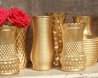 Gold vases, wedding decor,  Set of 12 textured gold dipped vintage bouquet vases, painted vase collection, glitter vase, centerpieces