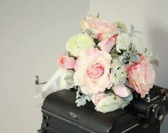 SALE Blush pink bouquet, silk flower wedding bouquet, blush roses, ranunculus bouquet, dusty pink bridal keepsake bouquet Ready to ship