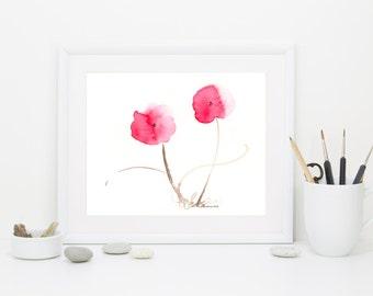 "Watercolor flower print of red poppies: ""Dancing Poppies"""