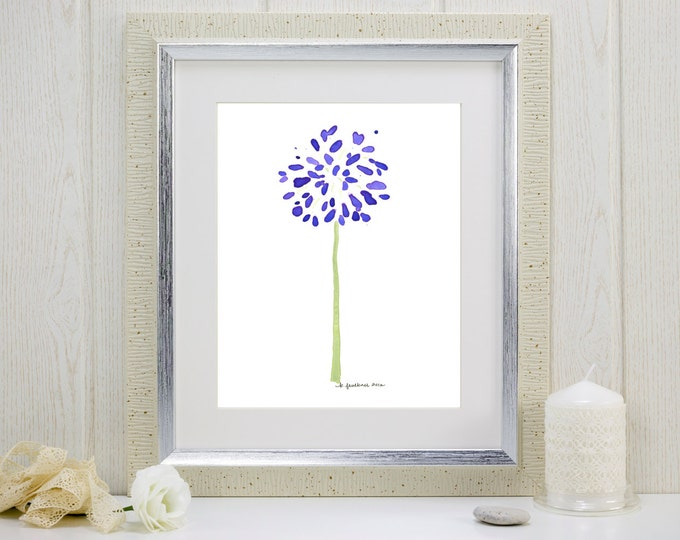 """Watercolor flower art print of purple agapanthus: """"Abstract Agapanthus"""""""
