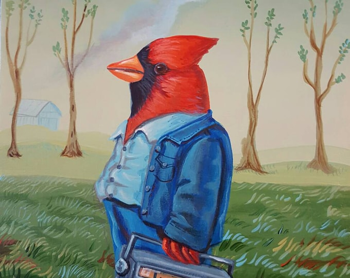 Cardinal with Boombox - Original painting by Mr Hooper of Nashville Tennessee