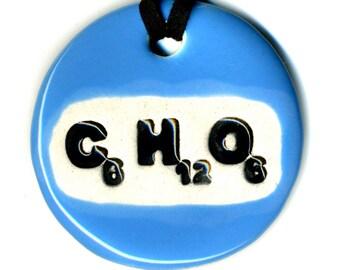 Sugar or Glucose Chemistry Ceramic Necklace in Blue