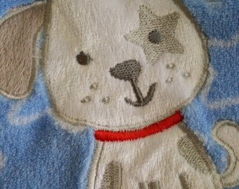 Precious Personalized Light Blue Baby Blanket with an Adorable Puppy Appliqued!