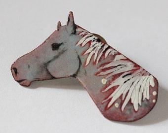 Enamel Horse Brooch Lapel pin II - OOAK - Vitreous enamel with hand painted leaf design