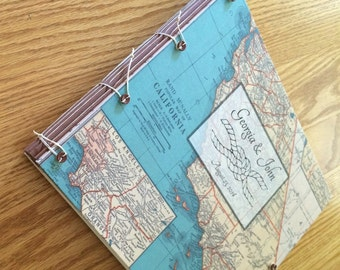Any State Wedding Guest Book or Photo Album - Personalized with Your Choice of Maps, Names & Dates - California - LA - San Francisco