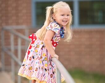 Kindergarten Dress- Preschool Dress- Back to  School Dress-Girls Crayon Dress- School Girl Dress- First Day of School Outfit- Girls Dress