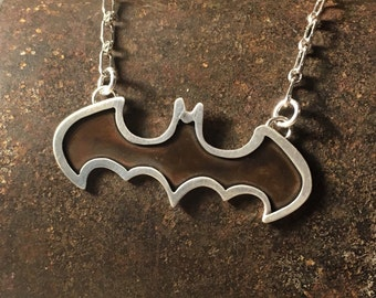 Batman necklace silver and copper mixed metal