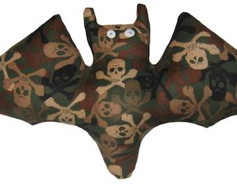 Camouflage Pirate Skull Bat Pillow
