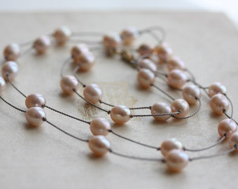 Long knotted pearl necklace - ivory blush pearls knotted on grey silk with a 14k gold filled clasp