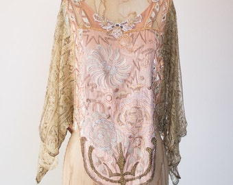 Art Deco 1920s Beaded Satin Metallic Gold Pink and White Beaded Appliques Gatsby Evening Blouse