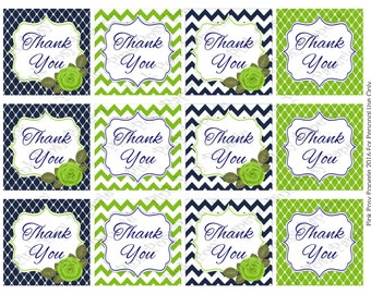 Printable Navy and Green Thank You Tags - Instant Download