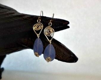 Blue Spiral Dance Earrings