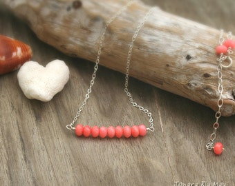 Layering Necklace, Bead Bar Necklace, Gem Bar Necklace, Festival Jewelry, Stacked Gem Necklace, Coral Bar Necklace, Summer Style, Everyday