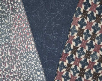 Tealy Blues - Vintage Japanese Kimono Fabric 3 Sleeve Mix Bundle Crafting