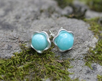 CLEARANCE Flower Shaped Stud Earrings with Tiger Eye or Amazonite - Limited Edition - Nature Jewelry, Natural Stones, Floral Post Earrings