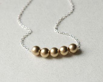 Dainty Gold Bead Necklace, Mixed Metal Jewelry, Minimal Jewellery, Sterling Silver Chain, Layering Necklace, Minimal Necklace, Gift For Her