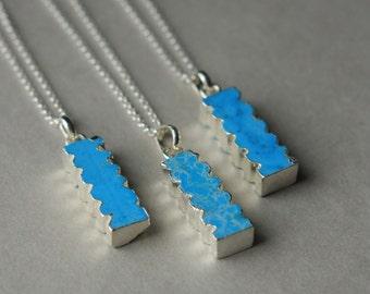 Silver Turquoise Necklace, Gemstone Bar Necklace, Blue Turquoise Jewelry, Boho Jewelry, Bohemian Jewelry, Southwest Jewelry, Silver Chain