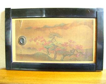 Vintage Japanese Small Sliding Door - Japanese Door - Vintage Door - Silk Landscape Autumn Leaves San Shui Style Painting