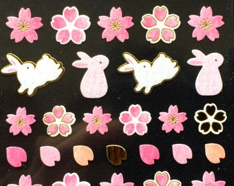 Cherry Blossom Stickers - Japanese Washi Paper Stickers - Chiyogami Flower Stickers - Rabbit stickers -  (S198)