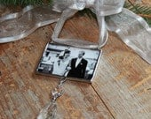 Personalized Photo Ornament with chandelier drop, Memorial Photo Ornament, First Christmas Photo Ornament, Remembrance Photo Ornament