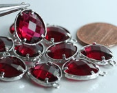 Promotion SALE 25% off Framed ruby red glass drop charm connector, earring componenet, necklace pendant, 2 pcs (item ID G50N09SP)