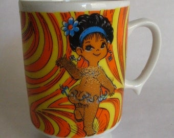 Vintage Coffee Mug-Golden Girl-Japan-Cute Nice Girl Dancing-Psychadelic