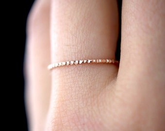 Lined Rose Gold ring, 14K Rose Gold fill ring, rose gold stacking ring, rose gold ring, notched ring, thin ring, bark ring, hammered