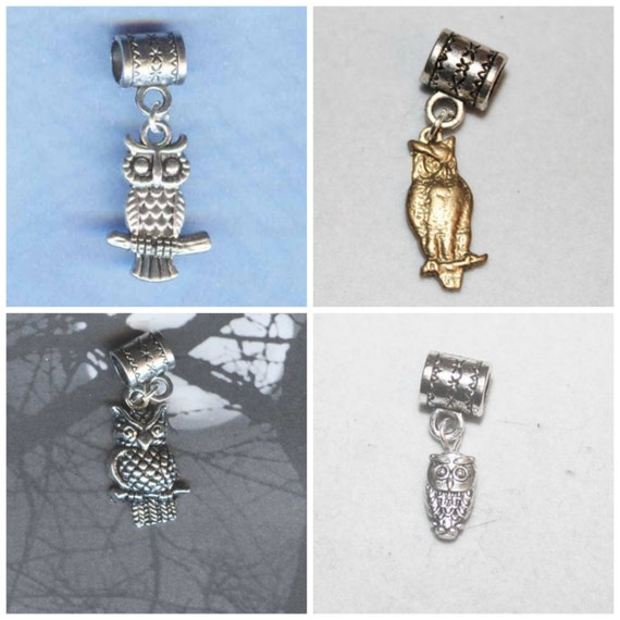 Owls (4 Owls styles to choose from) Lrg Hole Beads Fits All European Styles  Add a Bead Charm Bracelet Jewelry Pnd-Owls