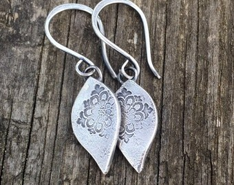 Rustic Moroccan petal earrings. Recycled sterling silver with an organic rustic finish.