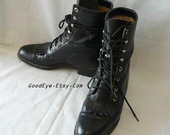Vintage JUSTIN Ankle Boots BLACK Leather Oxfords size 8 .5 B Eu 39 UK 6 / Men size 7 B Laceup Granny Hi-Tops