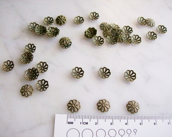 Antiqued Brass filigree Flower Bead Caps Jewelry Findings Supplies  9mm x 3mm  46 Pcs.